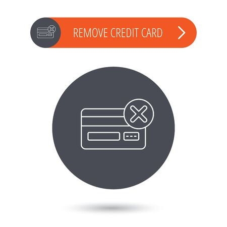 accounting logo: Remove credit card icon. Shopping sign. Gray flat circle button. Orange button with arrow. Vector Illustration