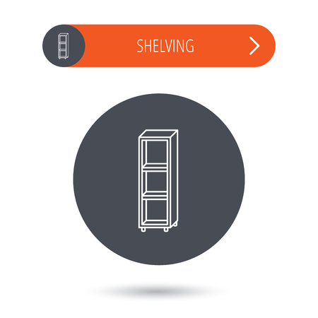 shelving: Empty shelves icon. Shelving sign. Gray flat circle button. Orange button with arrow. Vector Illustration