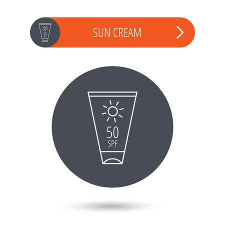 sun cream: Sun cream container icon. Beach lotion sign. Gray flat circle button. Orange button with arrow. Vector