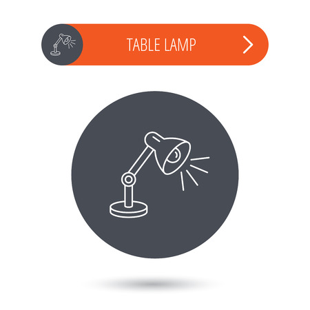 desk light: Table lamp icon. Desk light sign. Gray flat circle button. Orange button with arrow. Vector Illustration