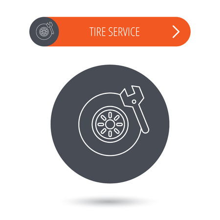 car navigation: Tire service icon. Wheel and wrench key sign. Gray flat circle button. Orange button with arrow. Vector