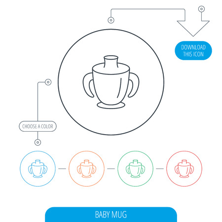 spout: Toddler spout cup icon. Baby mug sign. Flip top feeding bottle symbol. Line circle buttons. Download arrow symbol. Vector