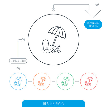 sand beach: Beach umbrella in sand icon. Bucket with shovel sign. Baby summer games symbol. Line circle buttons. Download arrow symbol. Vector Illustration