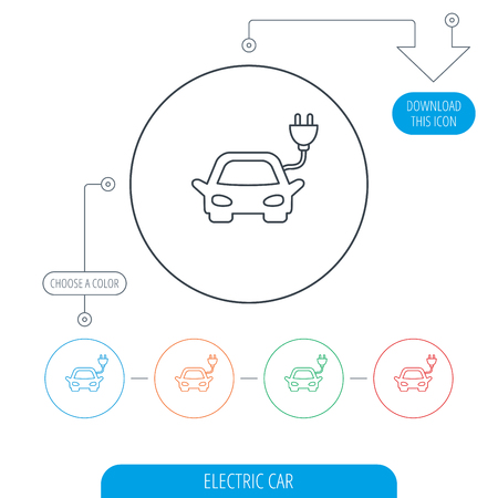 hybrid: Electric car icon. Hybrid auto transport sign. Line circle buttons. Download arrow symbol. Vector Illustration