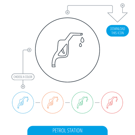 petrol station: Gasoline pump nozzle icon. Gas or Petrol station sign. Line circle buttons. Download arrow symbol. Vector Illustration