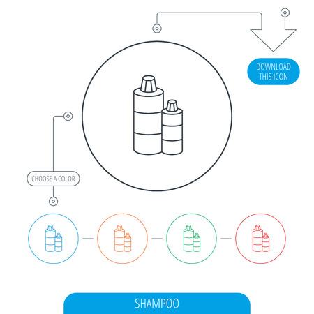 shampoo bottles: Shampoo bottles icon. Liquid soap sign. Line circle buttons. Download arrow symbol. Vector Illustration