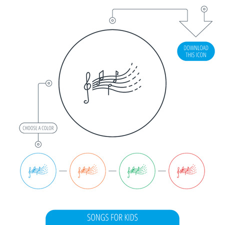gclef: Songs for kids icon. Musical notes, melody sign. G-clef symbol. Line circle buttons. Download arrow symbol. Vector Illustration