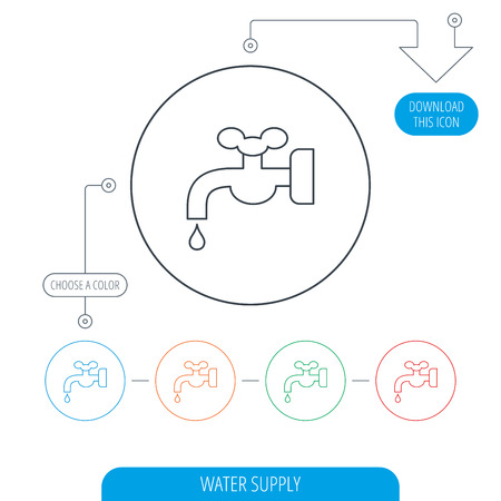 waterworks: Water supply icon. Crane or Faucet with drop sign. Line circle buttons. Download arrow symbol. Vector