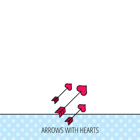darts flying: Love arrows icon. Amour equipment sign. Archer weapon with hearts symbol. Circles seamless pattern. Background with red icon. Vector Illustration