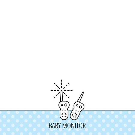 nanny: Baby monitor icon. Nanny for newborn sign. Radio set symbol. Circles seamless pattern. Background with icon. Vector