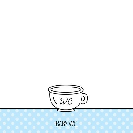 urinare: Bambino wc icona piatto. Bambino toilette segno. Bagno o il simbolo del lavabo. Circles seamless pattern. Sfondo con l'icona. Vettore Vettoriali
