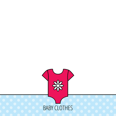 tot: Newborn clothes icon. Baby shirt wear sign. Flower symbol. Circles seamless pattern. Background with red icon. Vector