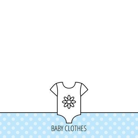 romper: Newborn clothes icon. Baby shirt wear sign. Flower symbol. Circles seamless pattern. Background with icon. Vector Illustration
