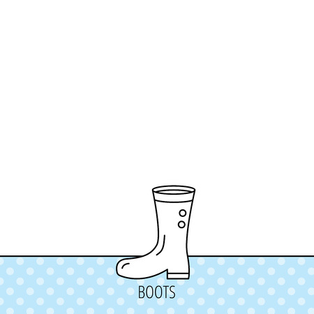 waterproof: Boots icon. Garden rubber shoes sign. Waterproof wear symbol. Circles seamless pattern. Background with icon. Vector