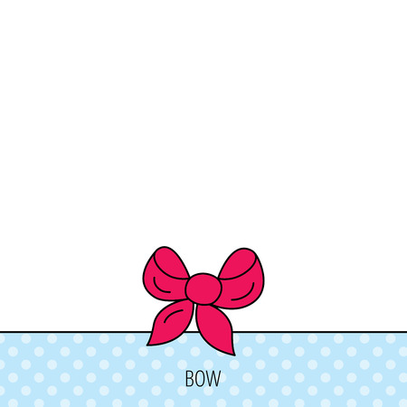 tied girl: Gift bow icon. Present decoration sign. Ribbon for packaging symbol. Circles seamless pattern. Background with red icon. Vector Illustration