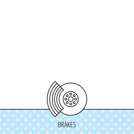 brakes: Brakes icon. Auto disk repair sign. Circles seamless pattern. Background with icon. Vector