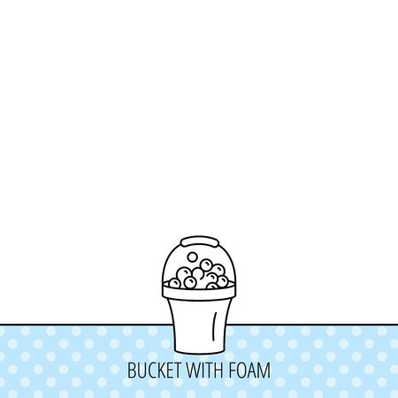 soapy: Bucket with foam icon. Soapy cleaning sign. Circles seamless pattern. Background with icon. Vector