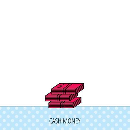 wads: Cash icon. Dollar money sign. USD currency symbol. 3 wads of money. Circles seamless pattern. Background with red icon. Vector