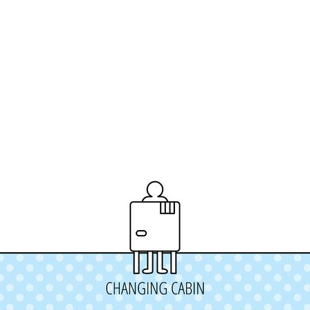 changing: Beach changing cabin icon. Human symbol. Circles seamless pattern. Background with icon. Vector