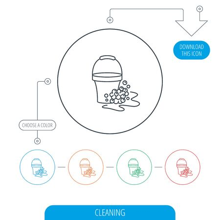 soapy: Soapy cleaning icon. Bucket with foam and bubbles sign. Line circle buttons. Download arrow symbol. Vector Illustration