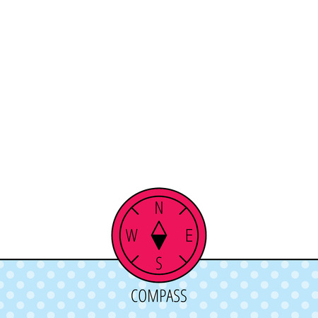 geographical: Compass navigation icon. Geographical orientation sign Circles seamless pattern. Background with red icon. Vector