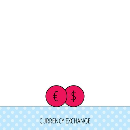 wealth concept: Currency exchange icon. Banking transfer sign. Euro to Dollar symbol. Circles seamless pattern. Background with red icon. Vector Illustration