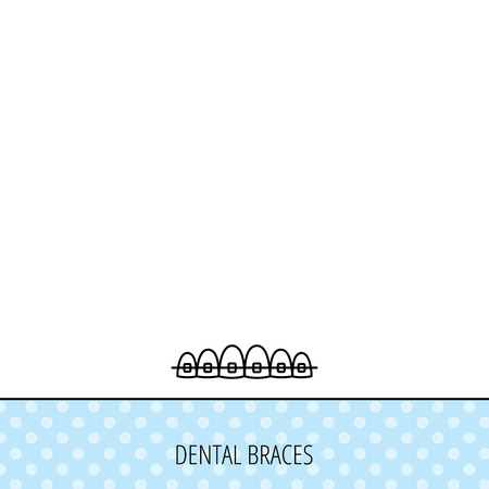 staples: Dental braces icon. Teeth healthcare sign. Orthodontic symbol. Circles seamless pattern. Background with icon. Vector Illustration