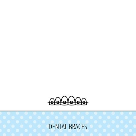 dental braces: Dental icono de llaves. Signo de la salud de los dientes. S�mbolo de ortodoncia. C�rculos sin patr�n. Fondo con el icono. Vector