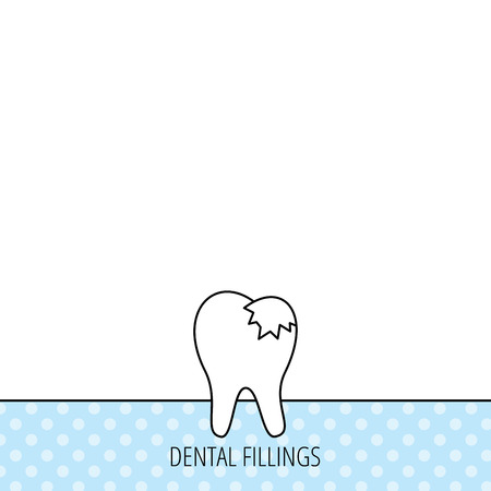 fillings: Dental fillings icon. Tooth restoration sign. Circles seamless pattern. Background with icon. Vector Illustration