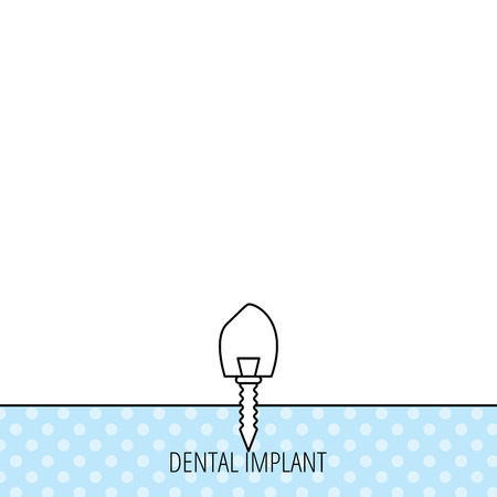 prosthesis: Dental implant icon. Oral prosthesis sign. Circles seamless pattern. Background with icon. Vector