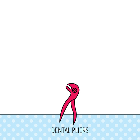anesthesia: Dental pliers icon. Stomatological forceps tool sign. Circles seamless pattern. Background with red icon. Vector