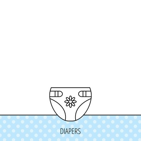 child protection: Diaper with flower icon. Child underwear sign. Newborn protection symbol. Circles seamless pattern. Background with icon. Vector Illustration