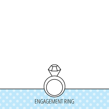 bague de fiancaille: Engagement ring icon. Jewellery with diamond sign. Circles seamless pattern. Background with icon. Vector Illustration