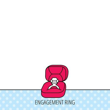 bague de fiancaille: Engagement anneau ic�ne. Bijoux signe de la bo�te. Circles seamless pattern. Contexte avec l'ic�ne rouge. Vecteur
