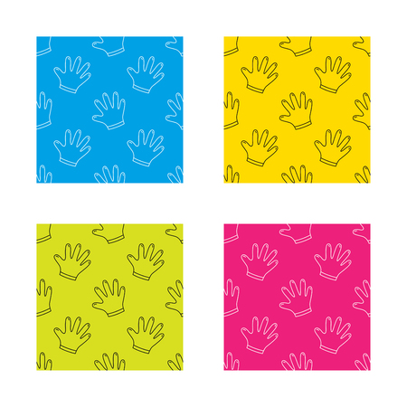 cleaning equipment: Rubber gloves icon. Latex hand protection sign. Housework cleaning equipment symbol. Textures with icon. Seamless patterns set. Vector