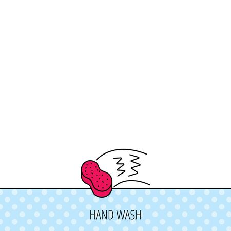wash hands: Hand wash icon. Cleaning sponge sign. Circles seamless pattern. Background with red icon. Vector