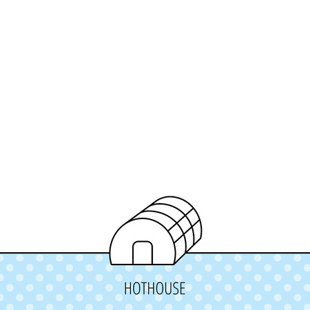 hothouse: Greenhouse complex icon. Hothouse building sign. Warm house symbol. Circles seamless pattern. Background with icon. Vector
