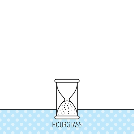 end of time: Hourglass icon. Sand end time sign. Hour ends symbol. Circles seamless pattern. Background with icon. Vector