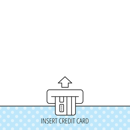 in insert: Insert credit card icon. Shopping sign. Bank ATM symbol. Circles seamless pattern. Background with icon. Vector