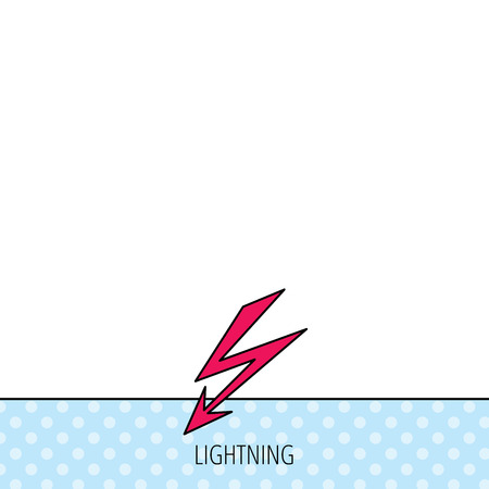 lightening: Lightening bolt icon. Power supply sign. Electricity symbol. Circles seamless pattern. Background with red icon. Vector Illustration