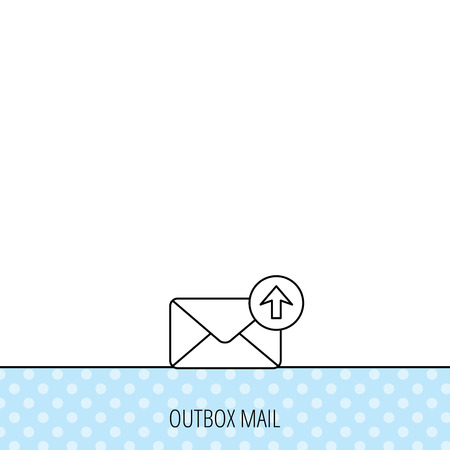 outbox: Mail outbox icon. Email message sign. Upload arrow symbol. Circles seamless pattern. Background with icon. Vector