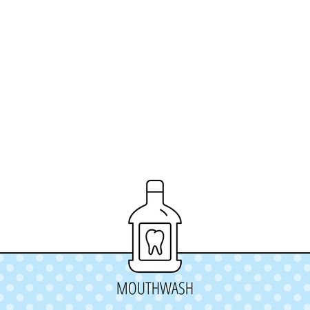 antibacterial: Mouthwash icon. Oral antibacterial liquid sign. Circles seamless pattern. Background with icon. Vector Illustration