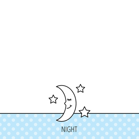 moonbeam: Night or sleep icon. Moon and stars sign. Crescent astronomy symbol. Circles seamless pattern. Background with icon. Vector