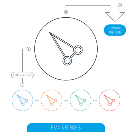 kelly: Pean forceps icon. Medical surgery tool sign. Line circle buttons. Download arrow symbol. Vector
