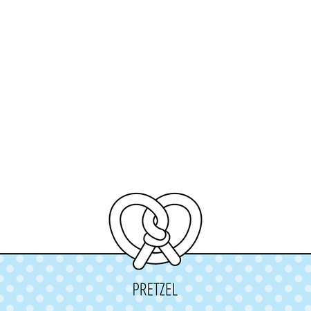 Pretzel icon. Bakery food sign. Traditional bavaria snack symbol. Circles seamless pattern. Background with icon. Vector