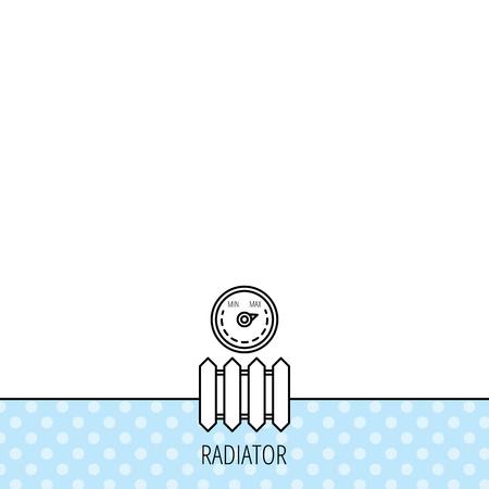 calentador: Radiador con el icono del regulador. Signo del calentador. Temperatura maxima. C�rculos sin patr�n. Fondo con el icono. Vector Vectores