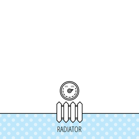 Radiator with regulator icon. Heater sign. Maximum temperature. Circles seamless pattern. Background with icon. Vector