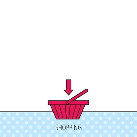 Shopping cart icon. Online buying sign. Circles seamless pattern. Background with red icon. Vector