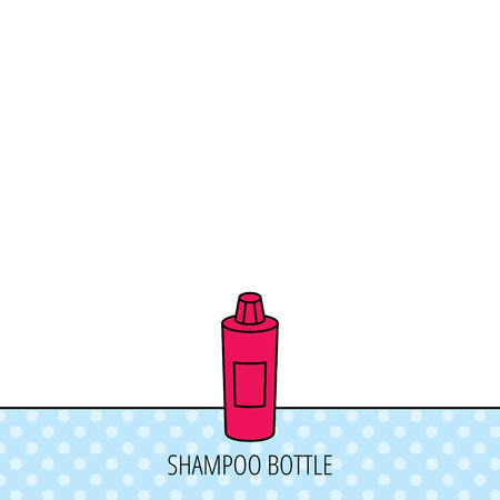 shampoo bottle: Shampoo bottle icon. Liquid soap sign. Circles seamless pattern. Background with red icon. Vector Illustration