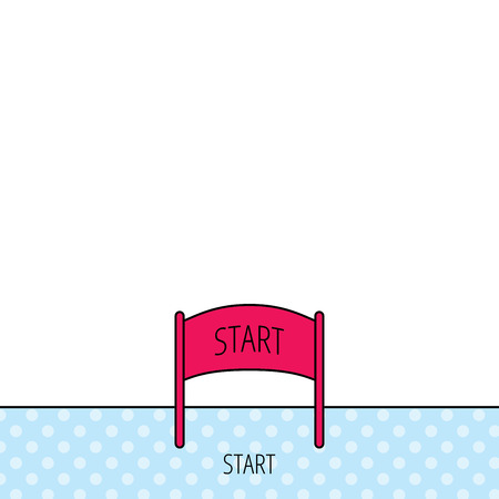checkpoint: Start banner icon. Marathon checkpoint sign. Circles seamless pattern. Background with red icon. Vector